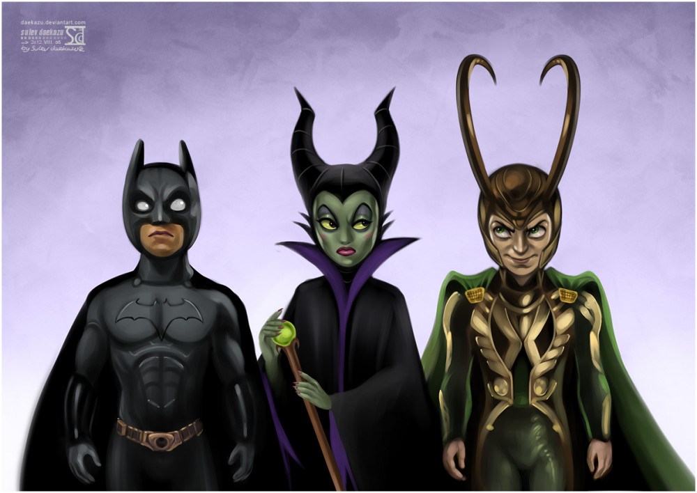 horns__batman__maleficent_and_loki_by_daekazu-d5aqcpa