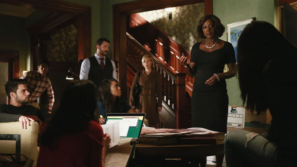 "HOW TO GET AWAY WITH MURDER - ""It's All My Fault"" - Wes, Connor, Michaela and Laurel may have dug themselves in too deep a hole for Annalise to save them, and the shocking truth about Lila's murder is finally revealed, on the season finale of ""How to Get Away with Murder,"" THURSDAY FEBRUARY 26 (10:00-11:00 p.m., ET) on the ABC Television Network. (ABC/Mitchell Haaseth) JACK FALAHEE, ALFRED ENOCH, CHARLIE WEBER, AJA NAOMI KING, LIZA WEIL, VIOLA DAVIS"