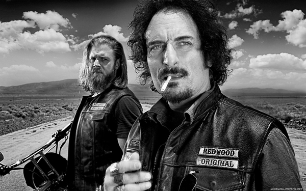 tv black and white sons of anarchy roads motorbikes cigars tv shows redwoods_wallpaperswa.com_69